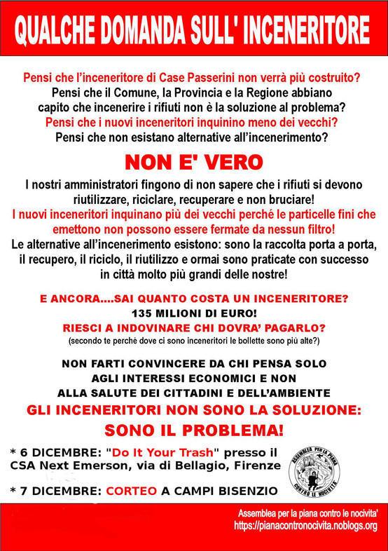 Qualche domanda sull'inceneritore - Do it your trash 6 Dicembre 2013 - Corteo a Campi 7 Dicembre 2013