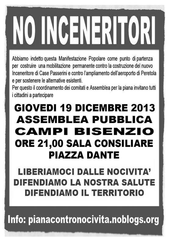 Giovedì 19 Dicembre 2013 Assemblea Pubblica sull'inceneritore di Case Passerini