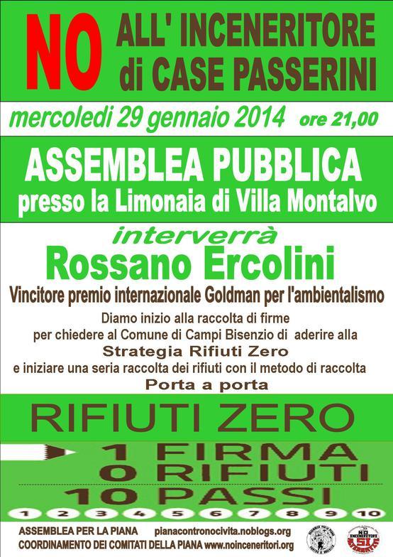 No Inceneritore Case Passerini Assemblea pubblica Limonaia raccolta firme Rifiuti Zero intervento di Rossano Ercolini