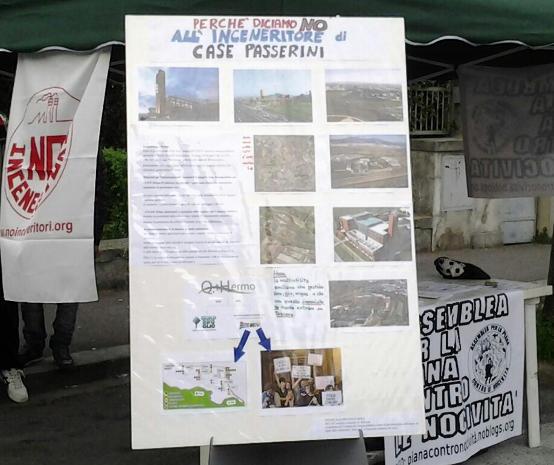 Sabato 22 Aprile 2014 Banchino no inceneritore raccolta firme rifiuti zero
