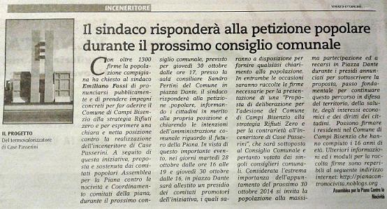Petizione Popolare in consiglio comunale articolo su Metropoli Piana