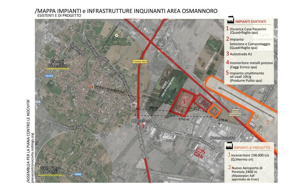 Mappa impianti ed infrastrutture inquinanti area Osmannoro