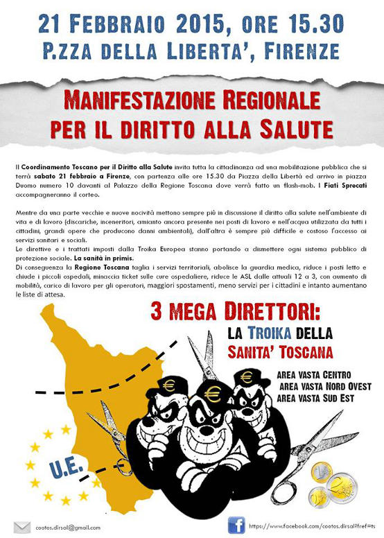 Sabato 21 Febbraio 2015 Manifestazione regionale per il diritto alla salute