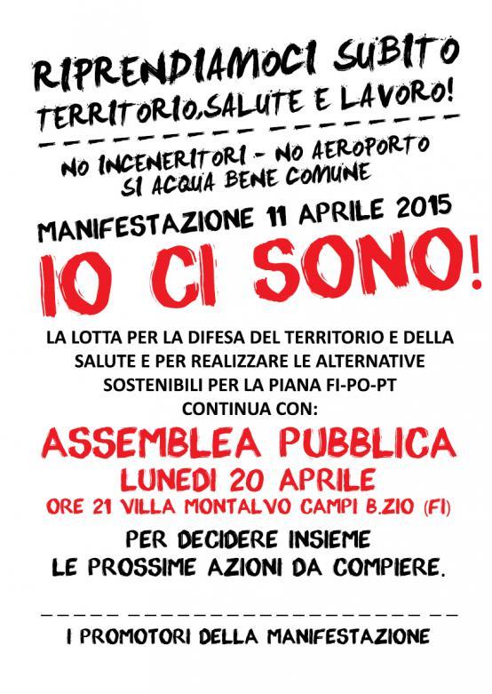 Lunedì 20 Aprile 2015 assemblea pubblica a Villa Montalvo a Campi Bisenzio