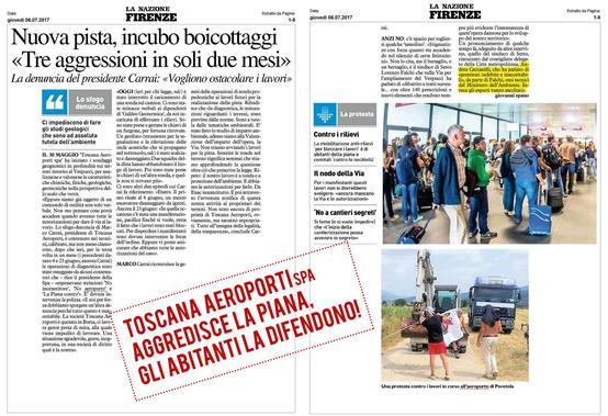 Toscana aeroporti spa aggredisce la piana, gli abitanti la difendono