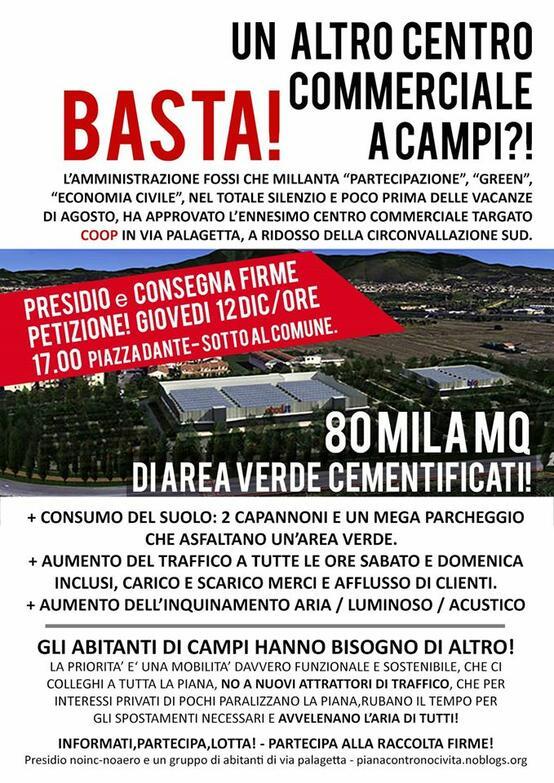 Presidio e consegna firme della petizione per fermare l'ennesimo centro commerciale a Campi Bisenzio