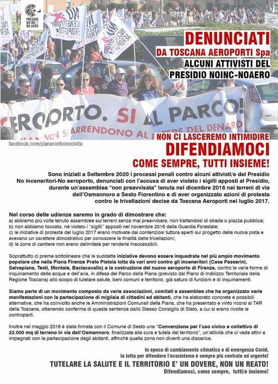 Alcuni attivisti del Presidio NoInc-NoAero denunciati da Toscana Aeroporti